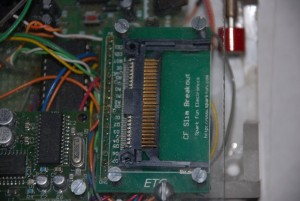 closeup of flash card slot